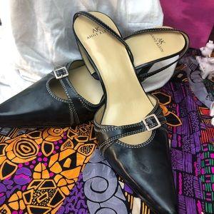 Like New Black leather Ann klein Sling back heels